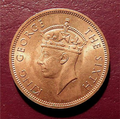 Seychelles Islands-1948 5 Cents- King George Vi- Royal Mint, Bronze Km#7  Tgc