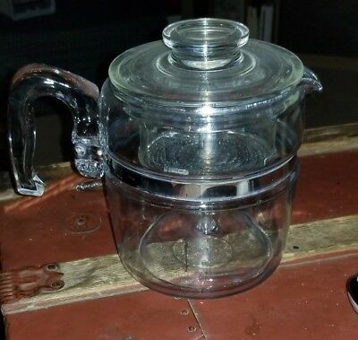 Vtg Pyrex 7756  cup Flameware Glass Coffee Pot Percolator Complete exc