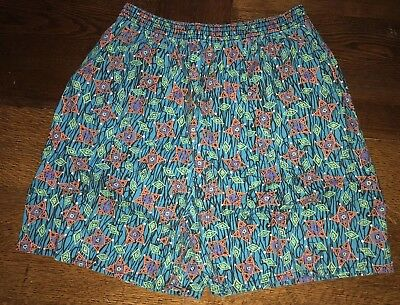 Vintage Retro 90's Handmade Shorts Bright Colors Elastic Band Size Small Large