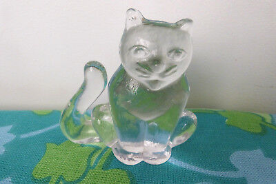 Kosta Boda Glass Flatback Animal Figurine Cat Designed by Erik Hoglund