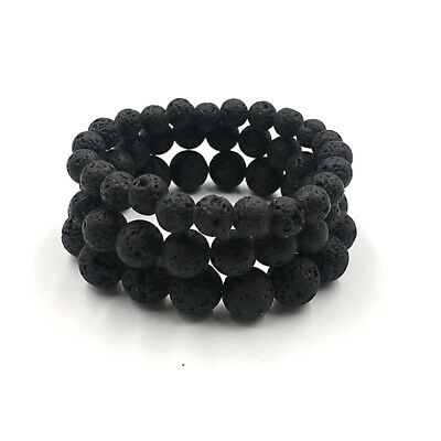 Man Natural Black Lava Stone Rock Volcanic Round Bead Elastic Diffuser Bracelets
