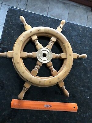 "Nautical ShipsWheel Pirate Captains 18"" Boat Steering Wood Brass"