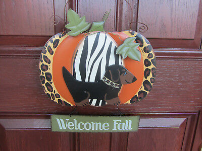 WELCOME FALL Black & Tan Dachshund Harvest Metal & wood door decor!