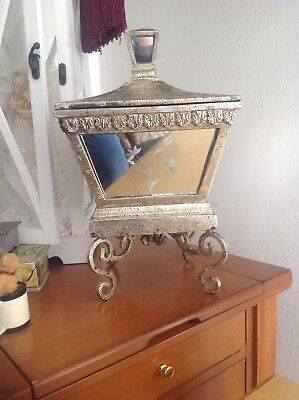 VINTAGE LID URN Mirror Casket JEWELRY CHEST BOX With LOT Of JEWELRY Old PEARLS