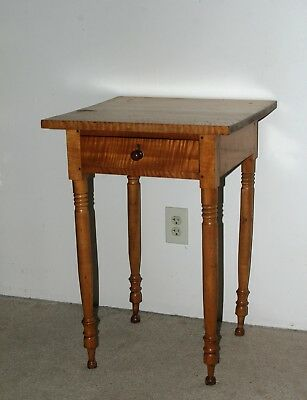 Quintessential Country Sheraton Federal Tiger Maple One Drawer Stand c. 1805!