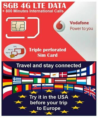 Europe Sim Card Vodafone 7Gb Data 4G + 800 Min International Calls Holiday Trip