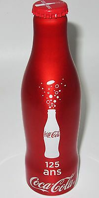 *Full! 125th Anniversary Aluminum Coca Cola Bottle w Cap Coke France
