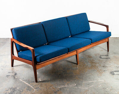 Mid Century Danish Modern Sofa Couch Solid Teak Japan Vintage 3 Seat Blue Tweed