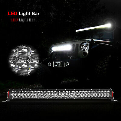 32inch CREE LED Light Bar Spot Flood Combo OffRoad Driving Work 4WD SUV Fog Lamp