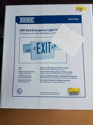 Monument® Exit And Led Emergency Light Combination, Single Face