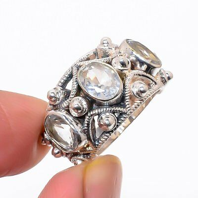 White Topaz Vintage 925 Sterling Silver Ring 8(27)_A
