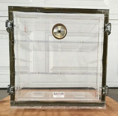 Plas-Labs 860-CG Acrylic Desiccator with Gas Port Clear; 12W x 12H x 12D