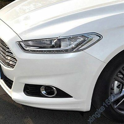 Fit Ford Mondeo Fusion Contour 2013-16 Chrome Front Headlight Lamp Frame Cover