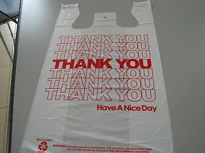 THANK YOU T-Shirt Bags  White Plastic Shopping bags 50 - 1000