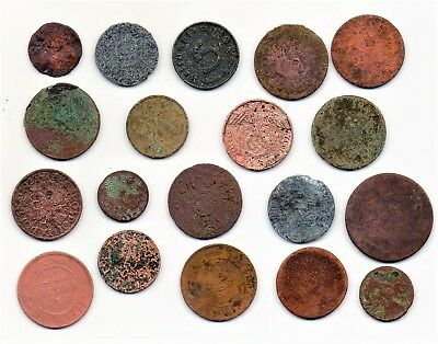 19 Old Ugly Coins Lot Germany, Poland Etc.
