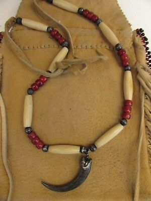 OLD PAWN NAVAJO  STERLING EAGLE TALON  NECKLACE w, white heart & hairpipe beads