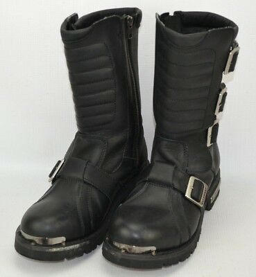 Xelement Leather Motorcycle Riding Boots Mens Sz 9.5 M Black Adjustable Buckles