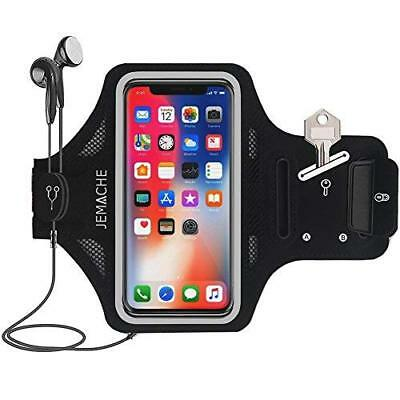 Black Sweatproof Gym Running Arm Band With Card Holder Case For iPhone XS Max