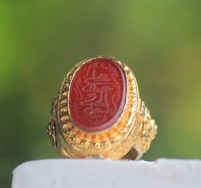 Beautiful Lovely Afghan Write Carnelian Agate Stone Gold Gilded Silver Ring 7US