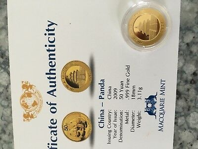 2009 China Panda 1/10th gold coin with certificate