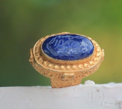 Beautiful Lovely Afghan Writing Lapis Agate Stone Gold Gilded Silver Ring 9 US