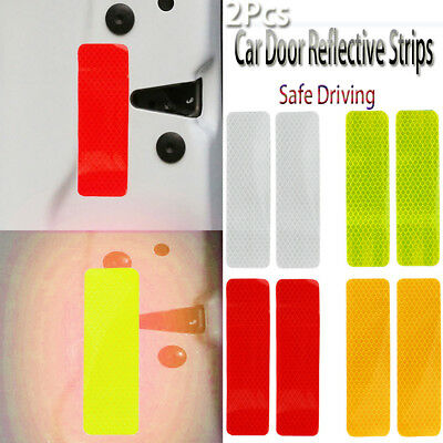 2x Car Door Safety Reflective Warning Strips Stickers Bumper Warning Decals~~~