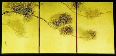 "JAPANESE FOLDING SCREEN /BYOBU: Antique ""Pine Branch"" (Matsu), c.1910, Exquisite"
