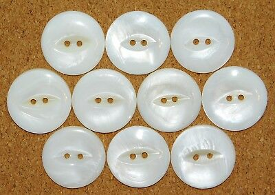 Antique VTG LARGE Carved Shell Mother-of-Pearl Buttons Matching SET 7/8""