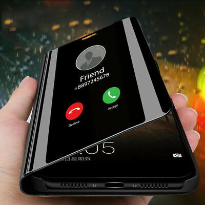 For Huawei Honor 10 9 8 Lite Luxury Mirror Clear View Flip Case Stand Cover