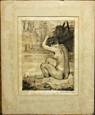 French ART by ANGELE DELASALLE original etching, pencil signed, painting c1910s