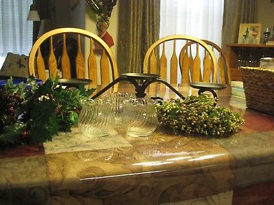 Longaberger Wrought Iron 3 Tier Candle Holder With Accessories