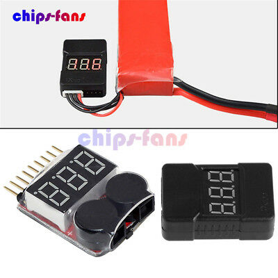 BX100 1-8S 2 In1 Lipo Li-ion Battery Low Voltage Tester Buzzer Alarm Dual Speak