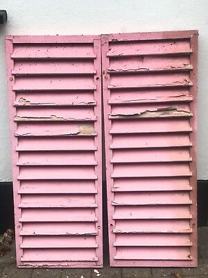 Vintage Decorative Pair Of Original Wooden Shutters