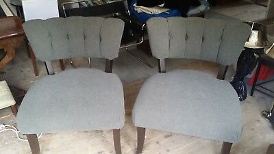 Pair of beautiful reuphostered large antique velvet buttoned chairs