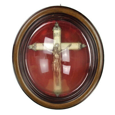 Antique L Oval Ornate Wooden Frame Red Velvet  Convex Glass Dome Crucifix