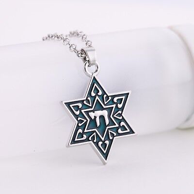 STAR OF DAVID Necklace Sterling Silver Jewish Chai Pendant UNIQUE Triplex Charm necklace pendant watch Jewelry & Watches