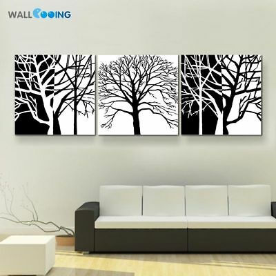 Modern Art Branches Black&White Pattern Artistic Design Of Tree Canvas Painting
