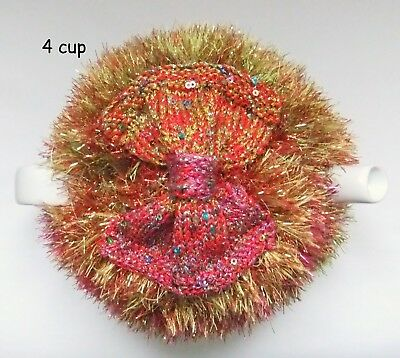 Hand-knitted- 4 cup Sparkly Tinsel & Bow Tea Cosy