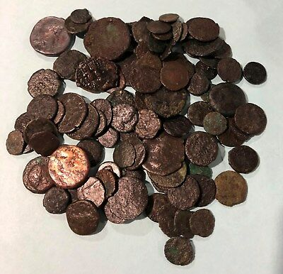 Lot of 100 Uncleaned Roman Bronze Coins