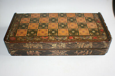 Antique Chinese Wooden Lacquer Gilt Hand Paint Large Chess Board Storage Box