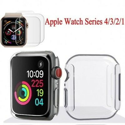 For Apple Watch Series 4/3/2/1 Full Cover TPU Case Screen Protector 40/44mm