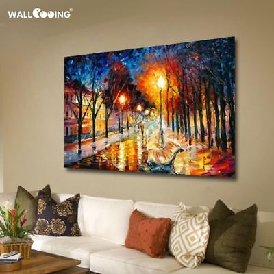 Hand Painted Cities Night Street Palette Knife Landscape Oil Canvas Painting