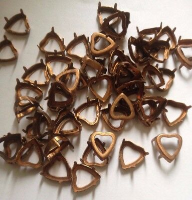 10 x Vintage Copper Heart Cabochon/Stone Settings with prongs - fit 12 mm stone