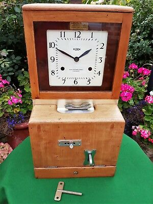 Antique Mahogany Blick/national Time Recorder/clocking In Machine Wall Clock