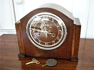 STRIKING OAK & WALNUT 1930's MANTEL CLOCK