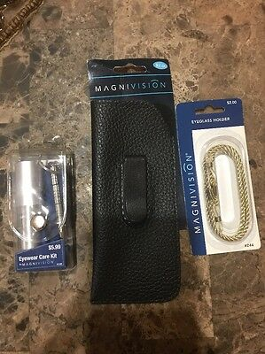 Magnivision Eyewear 3 Piece Accessories Clip Case Rope and Care Kit ALL NEW!