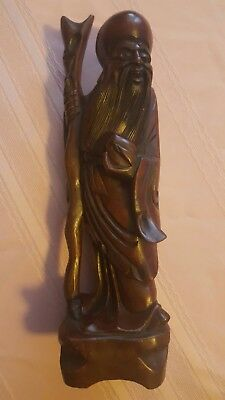 Chinese Confucius Statue Vintage Hand Carved Wooden Camphor Free Shipping!