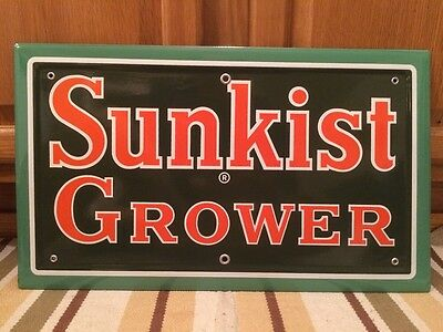 Vintage Porcelain SUNKIST GROWER Sign NOS Florida California Orange Juice Soda