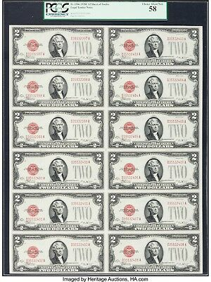 $2 1928E Uncut Sheet Legal Tender Notes Red Seal Pcgs58 12 Notes  ~ Very Rare