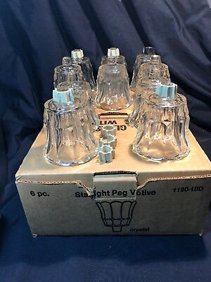 10 Vintage Clear Crystal Peg Votive Cup Candle Holders Home Interiors #1190-1BD